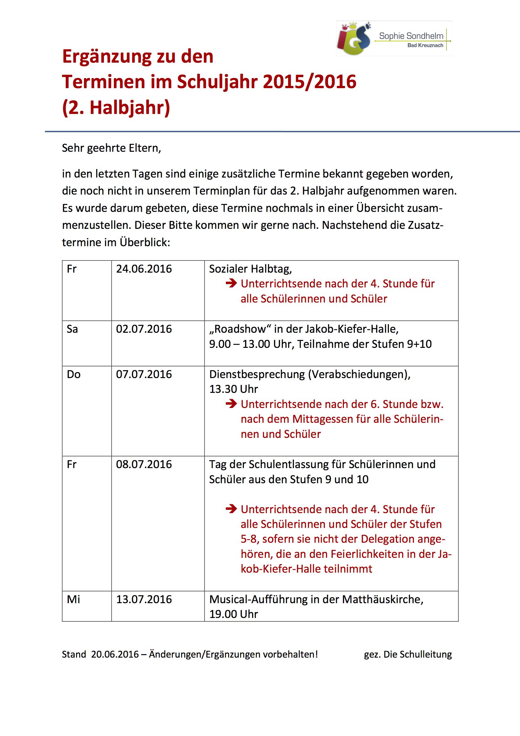 Ergänzung Elternterminplan 2. Halbjahr 15-16