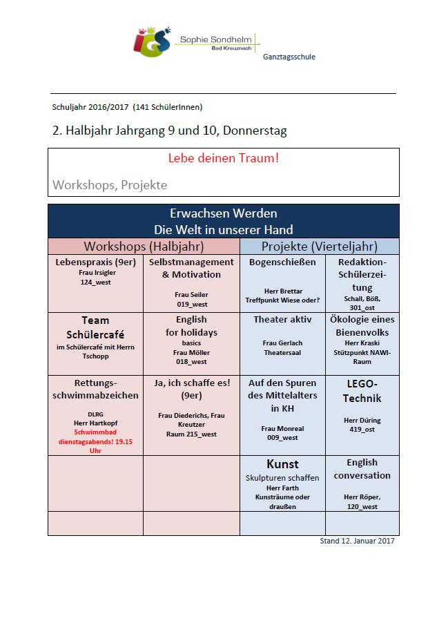 Unsere AGs und Workshops für das 2. Halbjahr 2016/17