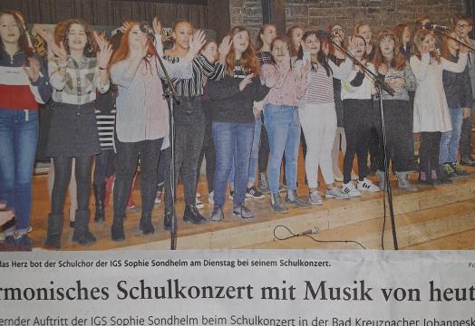 Presse: Schulkonzert der IGS in der Johanneskirche