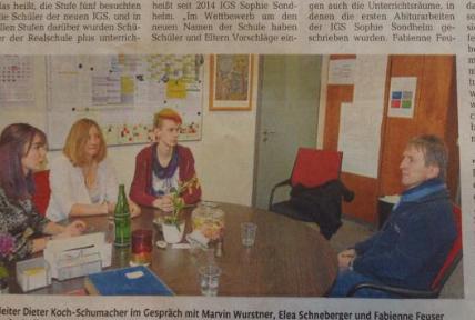 Presse: Erster Abiturjahrgang der IGS Sophie Sondhelm steht kurz vor Abschluss