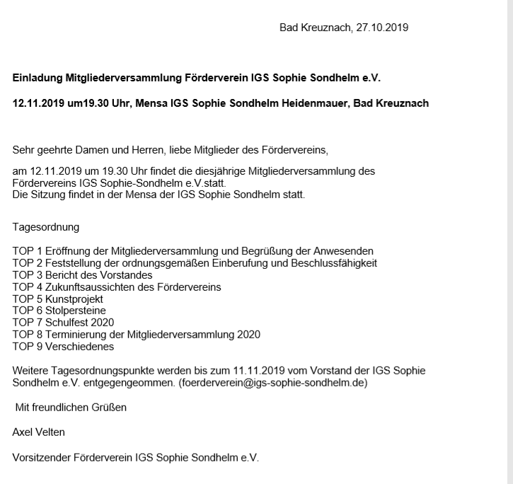 Erinnerung: Mitgliederversammlung Förderverein am 12.11.2019