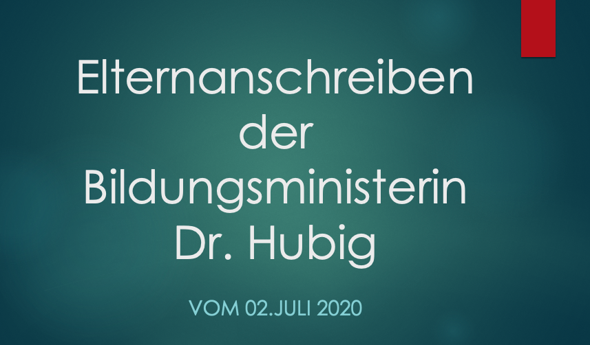 Elternanschreiben der Bildungsministerin Dr. Hubig