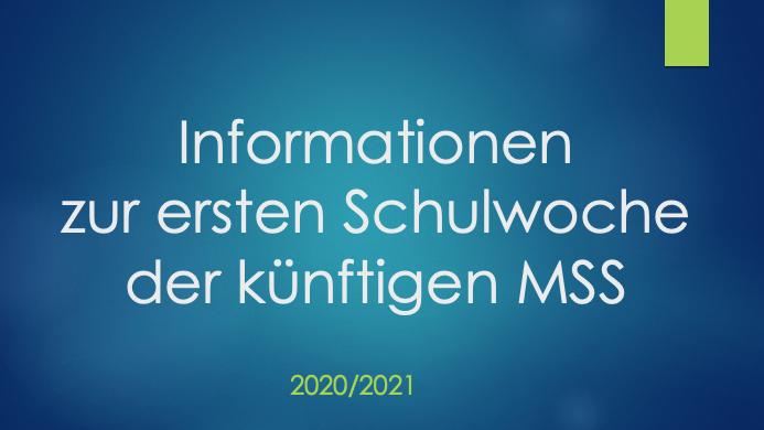 Informationen zum Schulstart der MSS