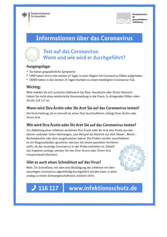 Informationen über das Coronavirus